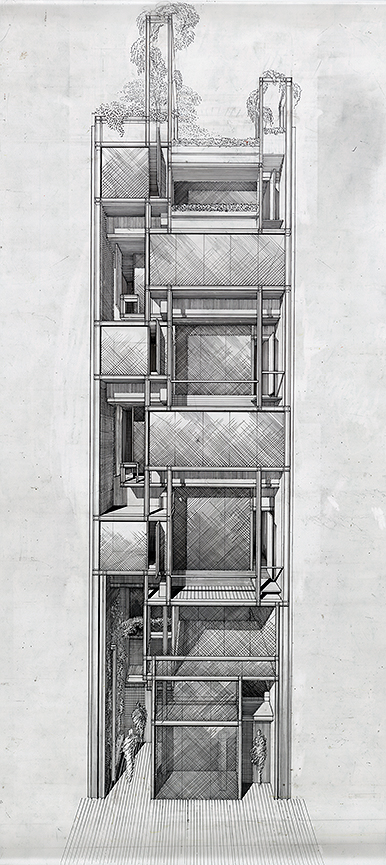 Modulightor, Inc., 246 East 58th St., New York City. Building Front Facade Perspective Rendering.