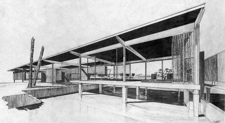 "A studio project by Paul Rudolph, made while he was completing his Masters degree in Harvard's architecture program, then under the direction of Walter Gropius. The house was to be sited in Siesta Key, FL, and was known as ""Weekend House for an Architect"" (and was later transformed into his design for the Finney Guest House project.)    Image courtesy of Harvard student work archives."