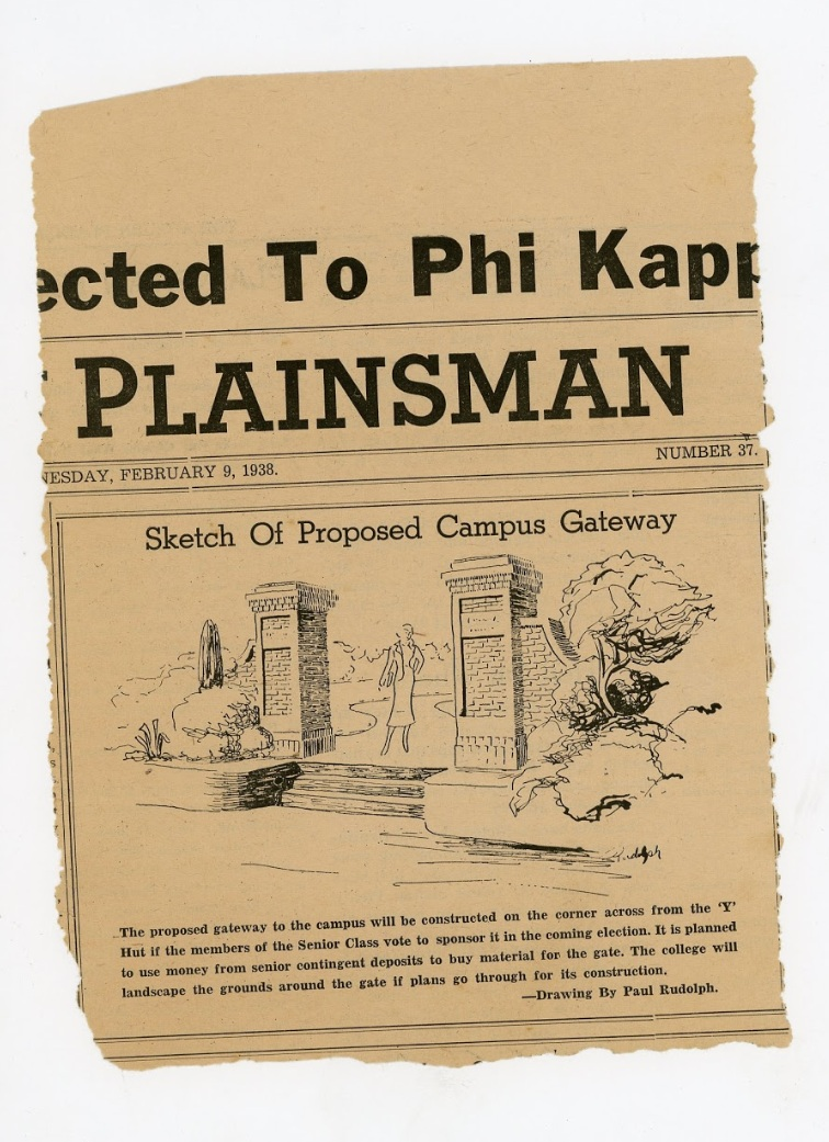"An illustration from the cover of a 1938 issue of ""The Plainsman"", the official student newspaper of the Alabama Technical Institute (now: Auburn University). Could this be Paul Rudolph's first published design? Image from an original newspaper clipping in the archives of the Paul Rudolph Heritage Foundation."