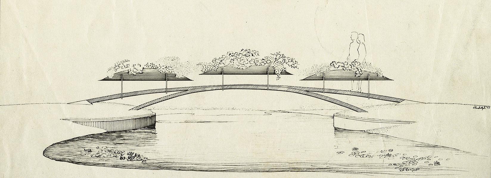 Floating Islands, Leesburg, Florida. Perspective Rendering of Pedestrian Bridge. 1953.