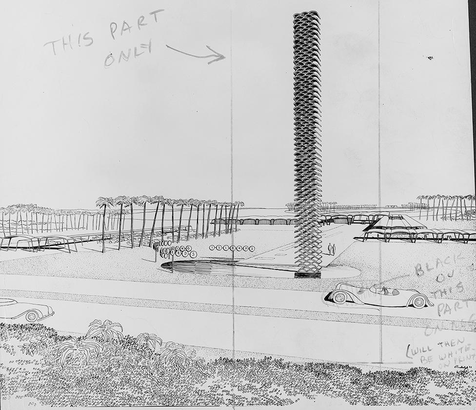 Floating Islands, Leesburg, Florida. Perspective Rendering of Entrance. 1953.