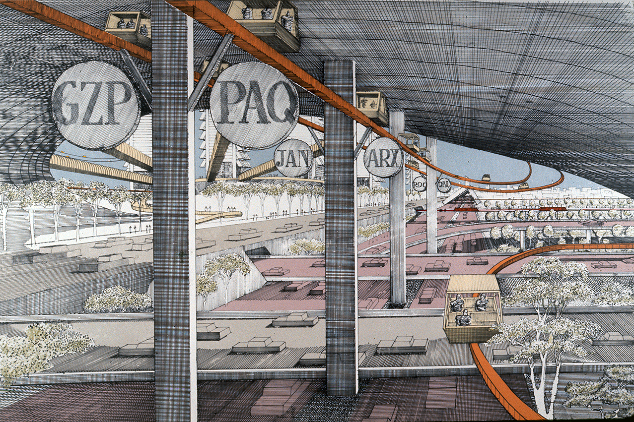 Lower Manhattan Expressway, New York City. Perspective Rendering.