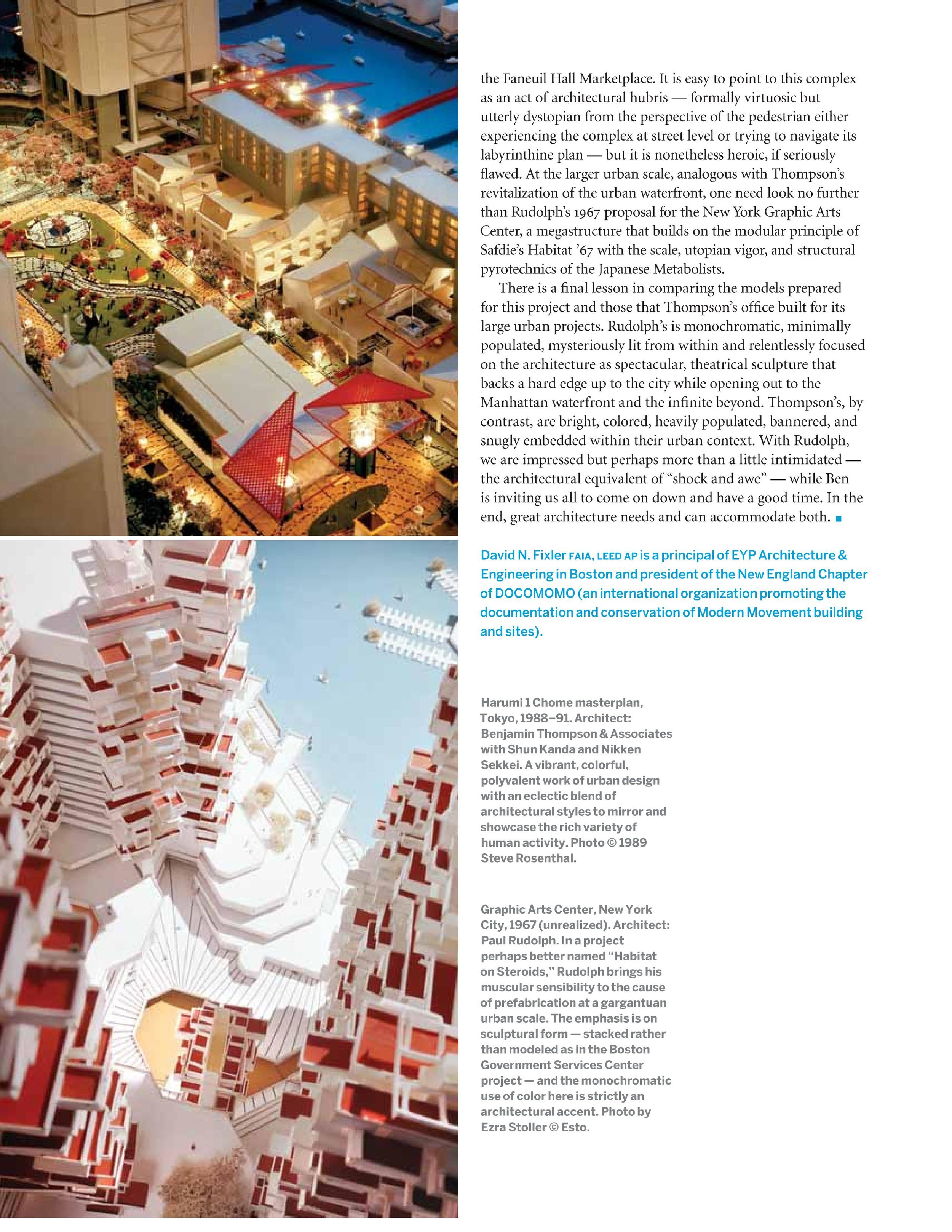 "The two approaches, of Thompson and Rudolph, are embodied in architectural models from each, which are depicted in the article.    Image: a page from the article, ""Ben & Paul"" by David N. Fixler, in the Spring,2011 issue of Architecture Boston magazine."