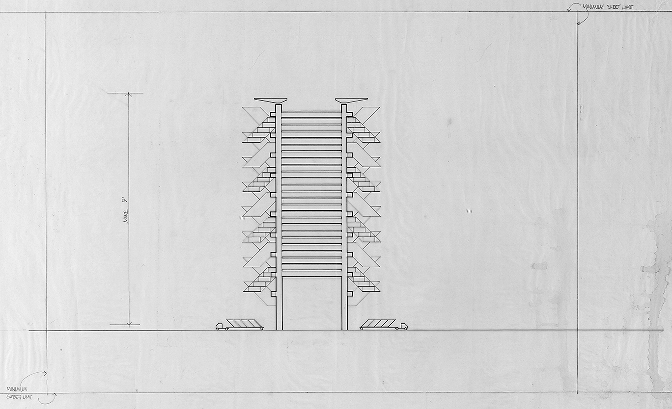 Lower Manhattan Expressway, New York City. Section Sketch of Tower.