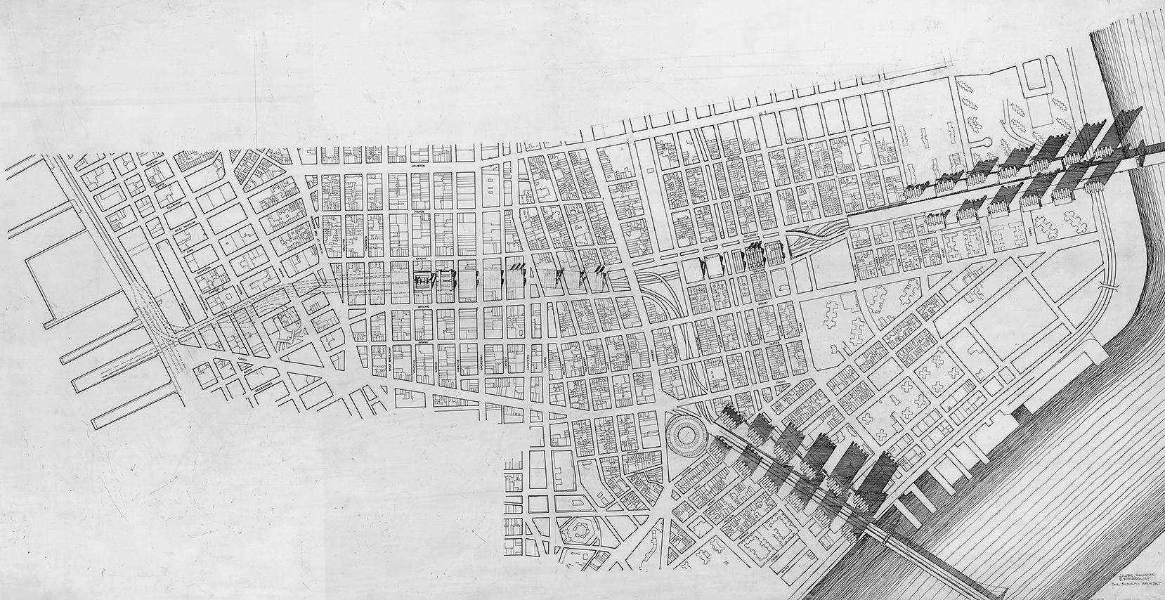 Lower Manhattan Expressway, New York City. Rendered Site Plan.