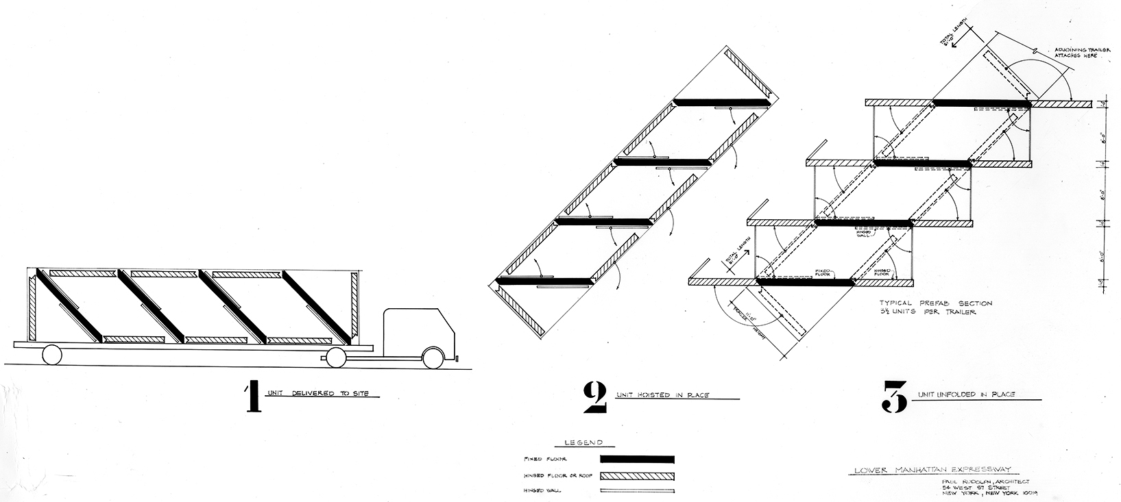 Lower Manhattan Expressway, New York City. Sketch Diagram Showing Prefabricated Stacking Units, Showing Delivery and Set-up.