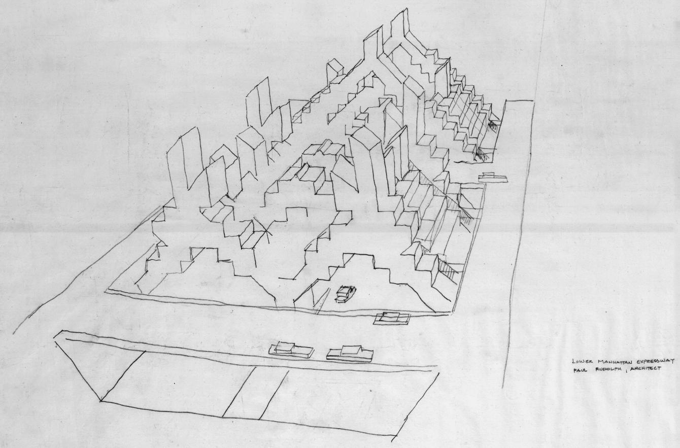 Lower Manhattan Expressway, New York City. Bird's-eye Perspective Sketch.