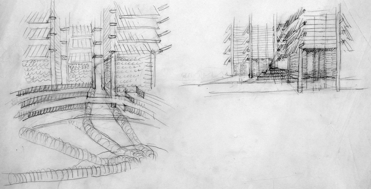 Lower Manhattan Expressway, New York City. Perspective Sketches.