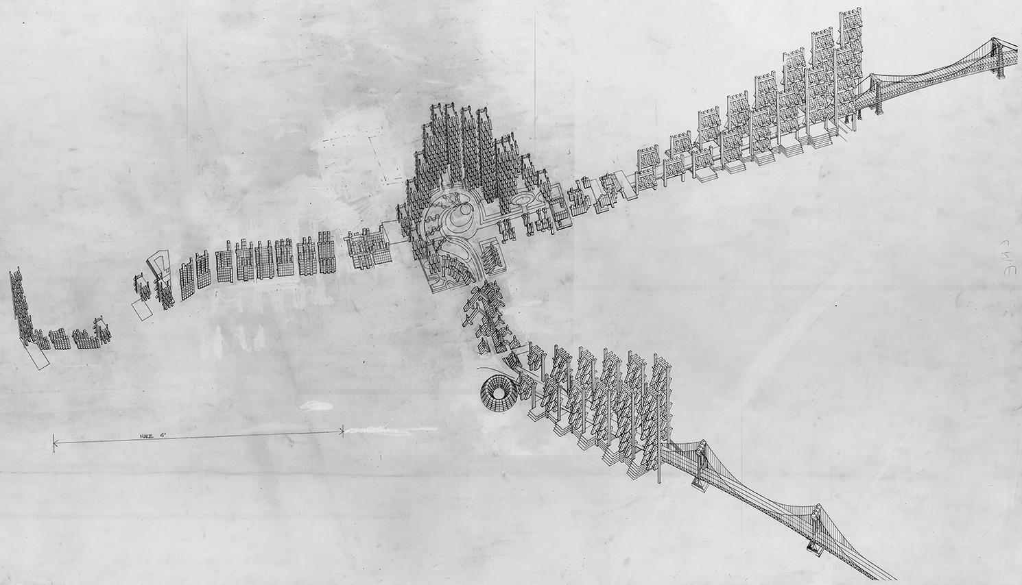 Lower Manhattan Expressway, New York City. Aerial Isometric Rendering.