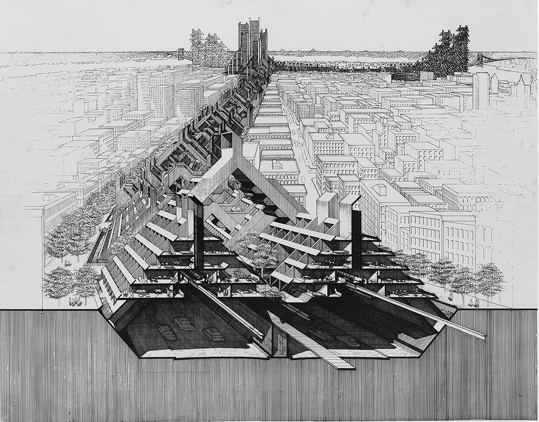 Lower Manhattan Expressway, New York City. Bird's-eye Section Perspective Rendering.