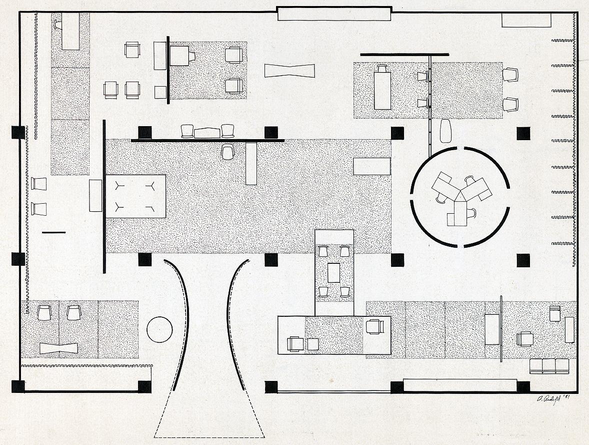 Good Design Exhibition of 1952. Rendered Floor Plan.