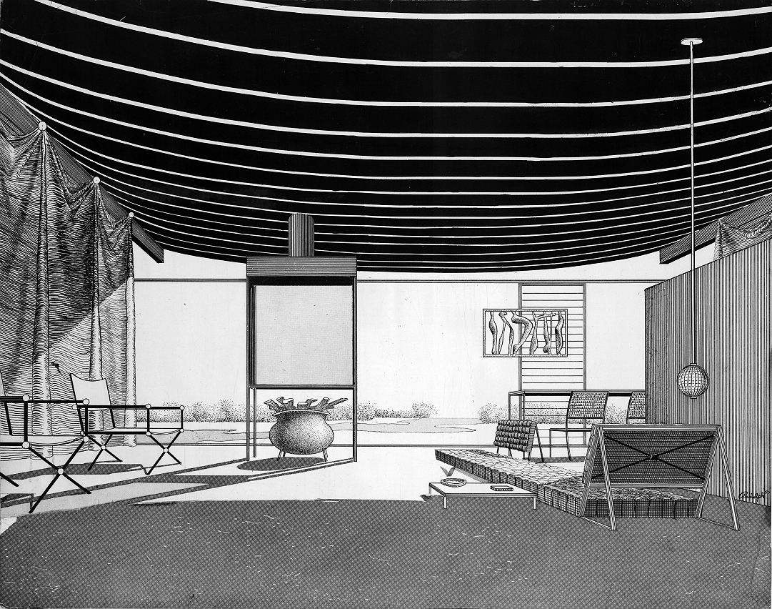 Cocoon house (Healy Guest House), Siesta Key, Florida. Interior Perspective Rendering.
