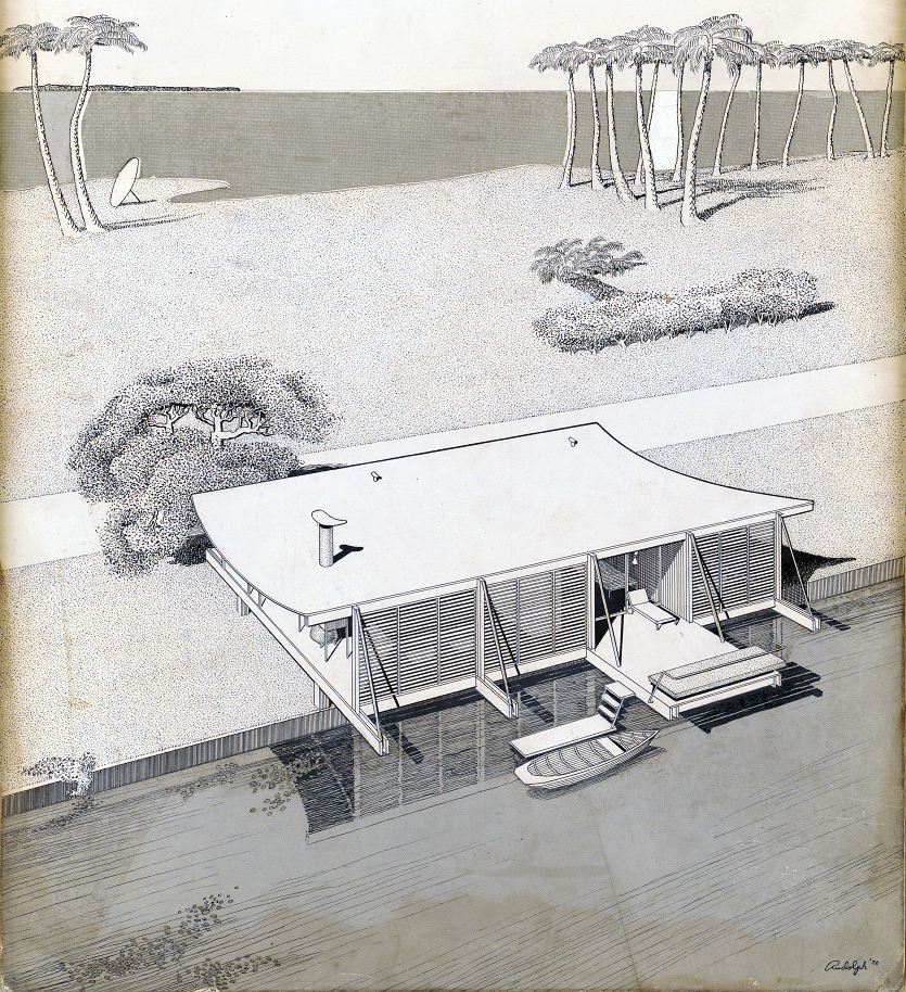 Cocoon house (Healy Guest House), Siesta Key, Florida. Bird's-eye Perspective Rendering.