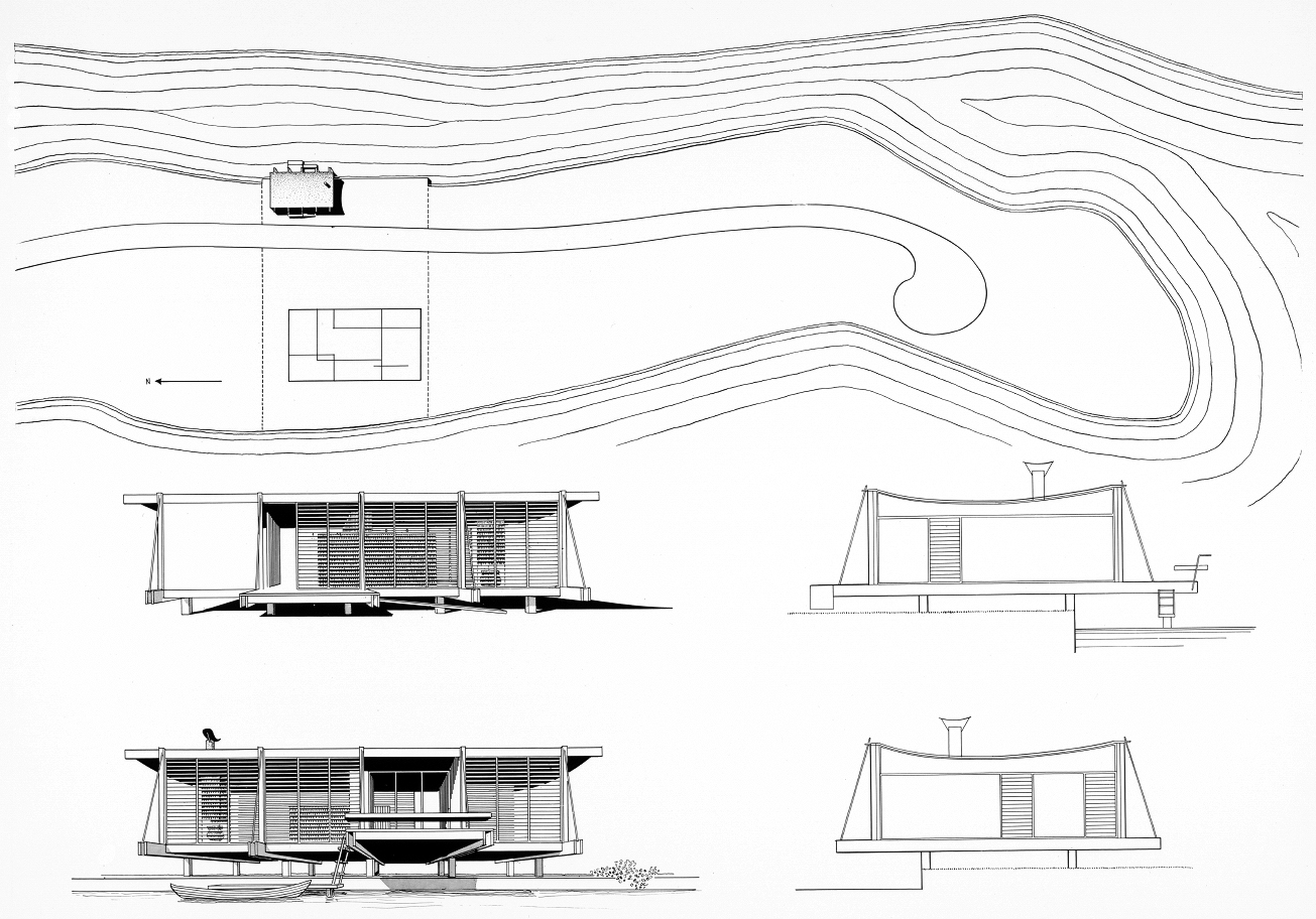 Cocoon house (Healy Guest House), Siesta Key, Florida. Site Plan and Exterior Elevation Renderings.