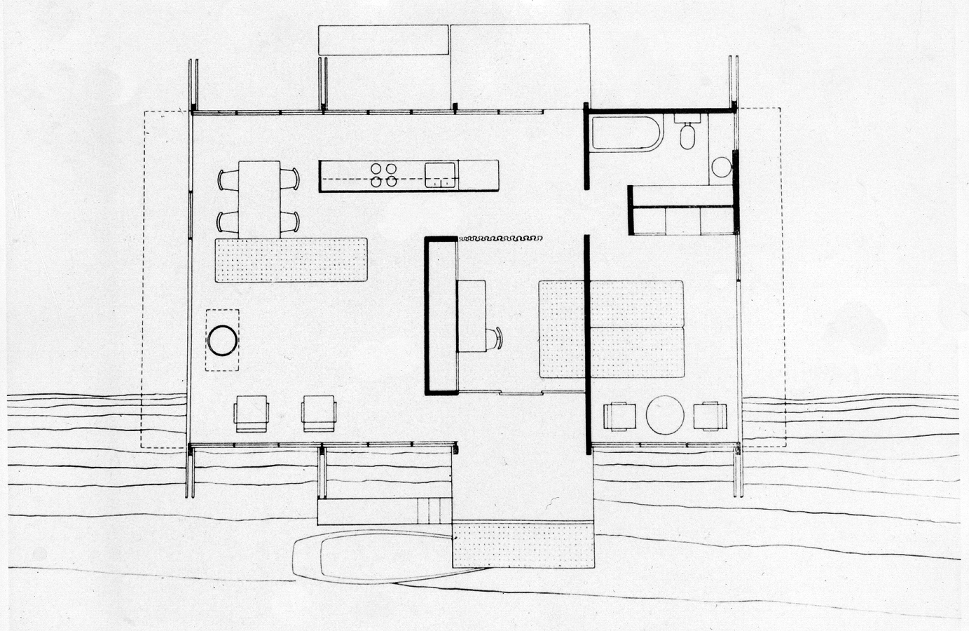 Cocoon house (Healy Guest House), Siesta Key, Florida. Floor Plan.