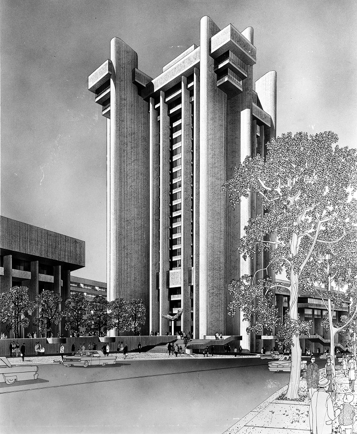 Boston Government Service Center, Boston, Massachusetts. Rendering of Proposed Tower by Helmut Jacoby.