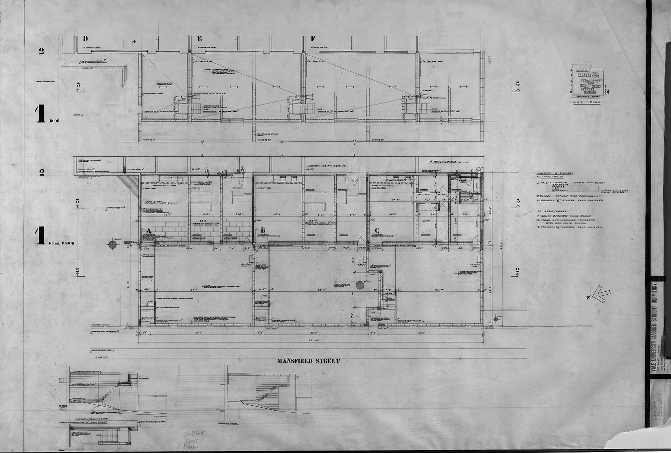 Married student housing, Yale University, New Haven, Connecticut. Scheme 1. Section 1 Floor Plan.