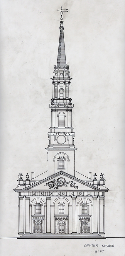 Center Church, New Haven, Connecticut. Façade. Elevation Study Drawing of Existing Building Preparatory to the Proposal for the New Haven Government Center.