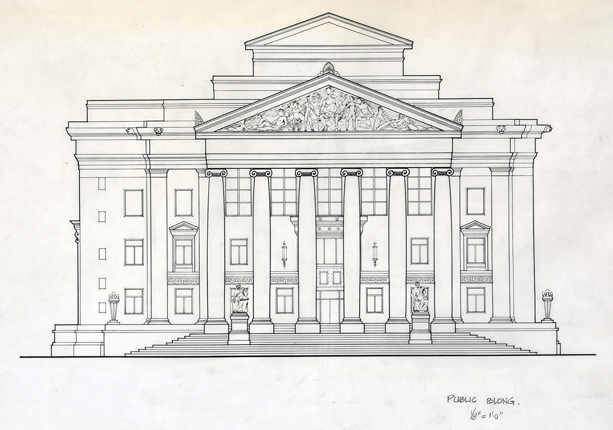 Public building (i.e., courthouse), New Haven, Connecticut. Façade. Elevation Study Drawing of Existing Building Preparatory to the Proposal for the New Haven Government Center.