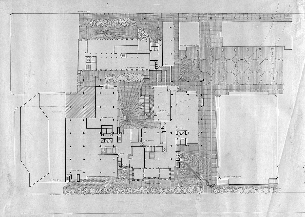 New Haven Government Center, New Haven, Connecticut. First Floor Plan.