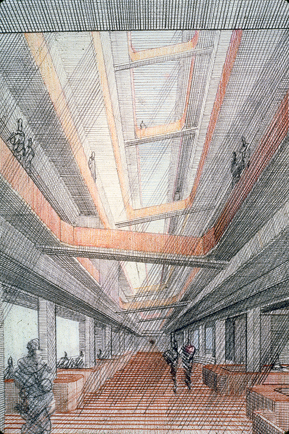 New Haven Government Center, New Haven, Connecticut. Perspective Rendering of Interior.
