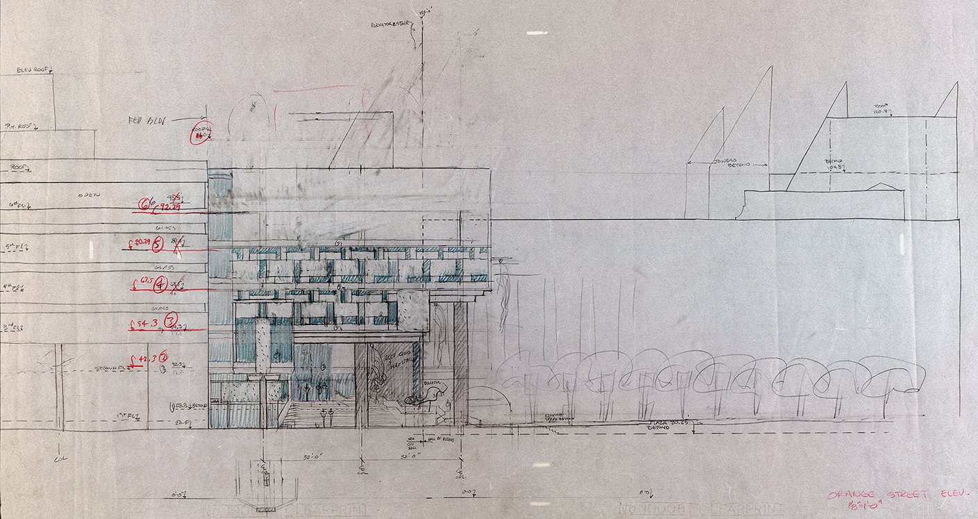 New Haven Government Center, New Haven, Connecticut. Rendered Elevation Study of Orange Street Facade.
