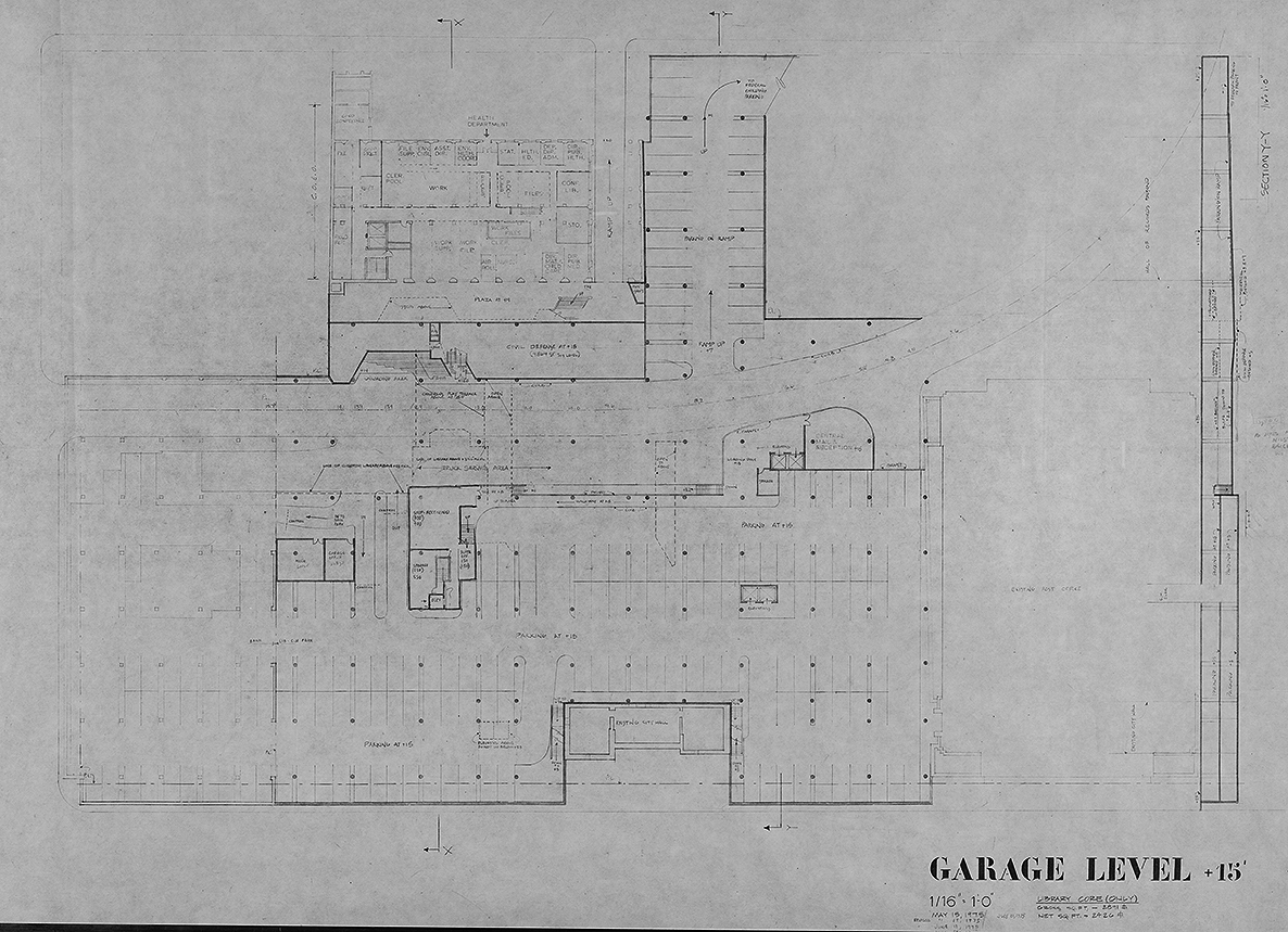 New Haven Government Center, New Haven, Connecticut. Garage Level Floor Plan.