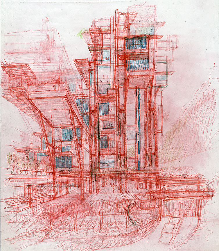 Wee Ee Chao condominiums, Hong Kong, China.  Perspective Sketch.