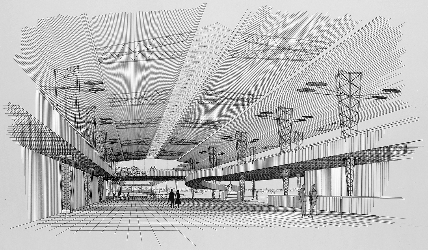 Sarasota-Bradenton Airport, Sarasota, Florida. Interior Perspective Rendering.