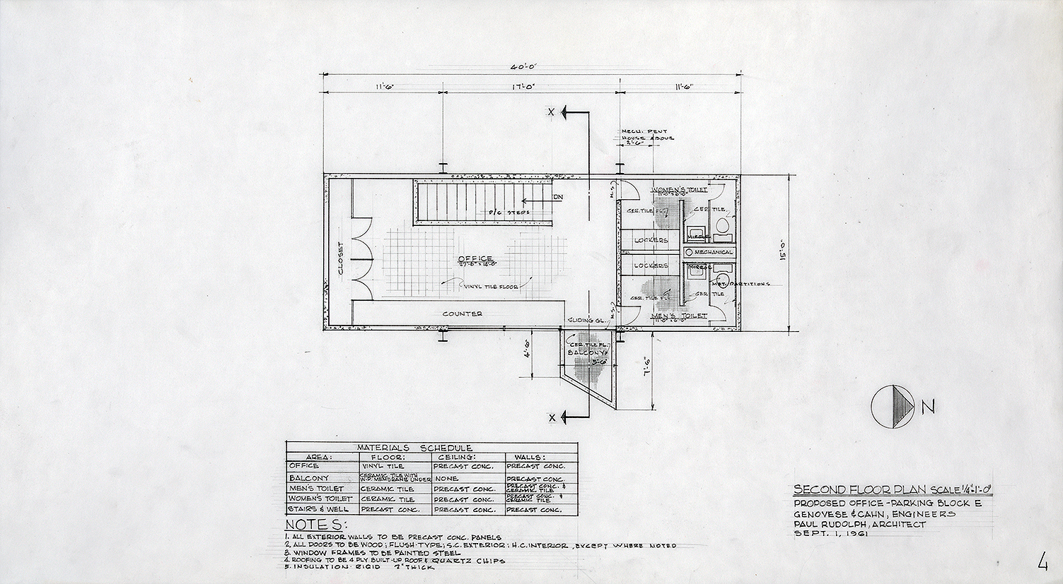 Manager's Office, Parking Garage,  New Haven, Connecticut. Scheme A. Second Floor Plan.