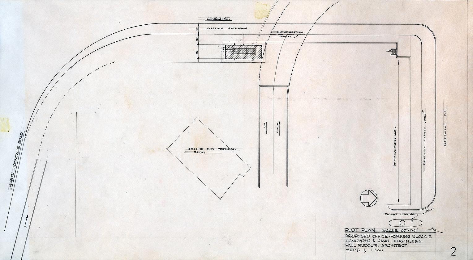 Manager's Office, Parking Garage,  New Haven, Connecticut. Scheme A. Plot Plan.