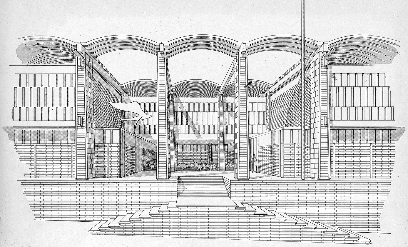 Embassy of the United States, Amman, Jordan. Entrance Perspective Rendering.