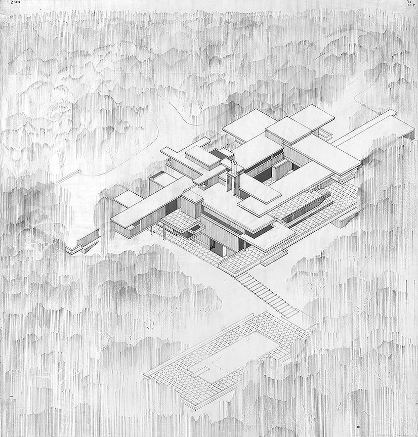 Residence for Mr. and Mrs. Sid R. Bass, Fort Worth, Texas. Bird's-eye Axonometric Rendering.