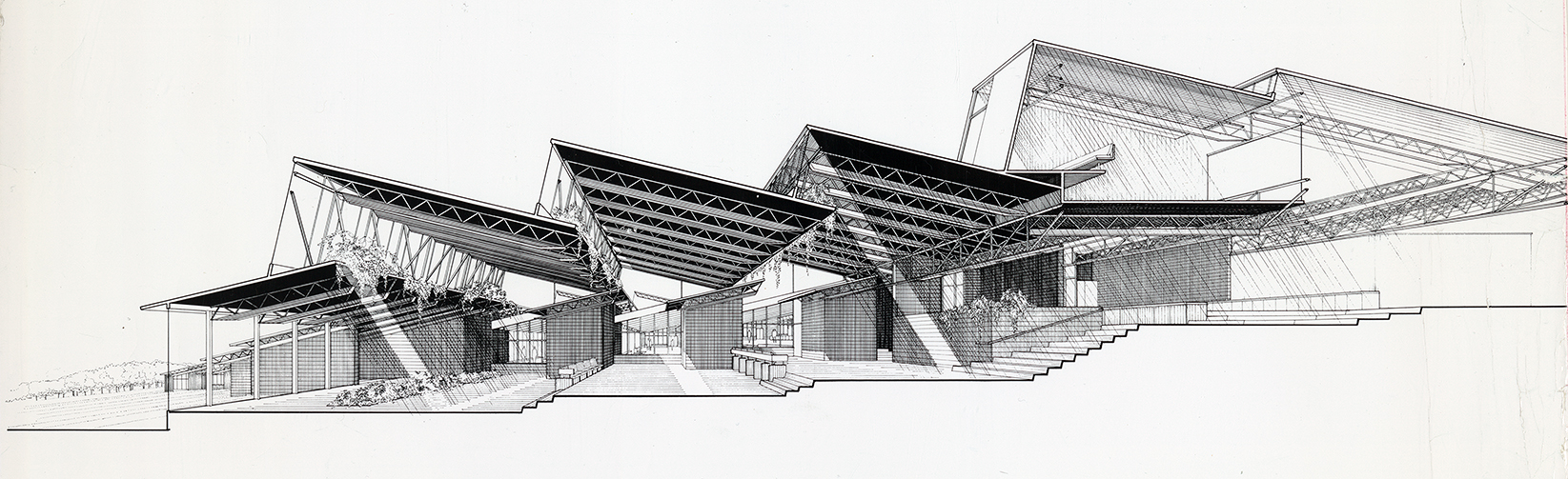 Chorley Elementary School, Middletown, New York.  Section Perspective Rendering.