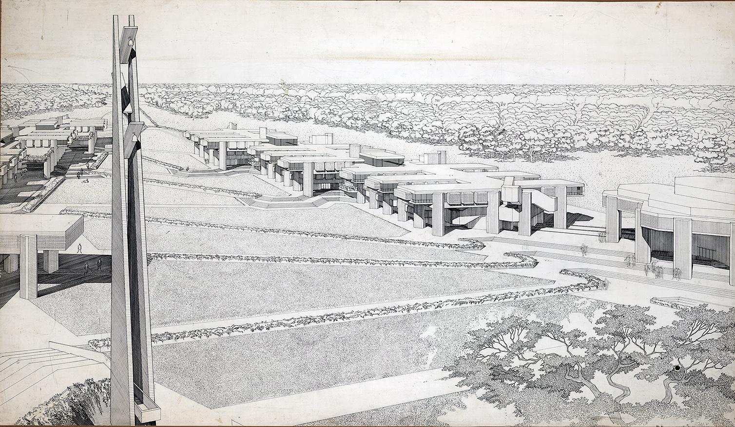 SMTI (Southeastern Massachusetts Technological Institute - now UMass Dartmouth). First scheme. Bird's-eye Perspective Rendering.