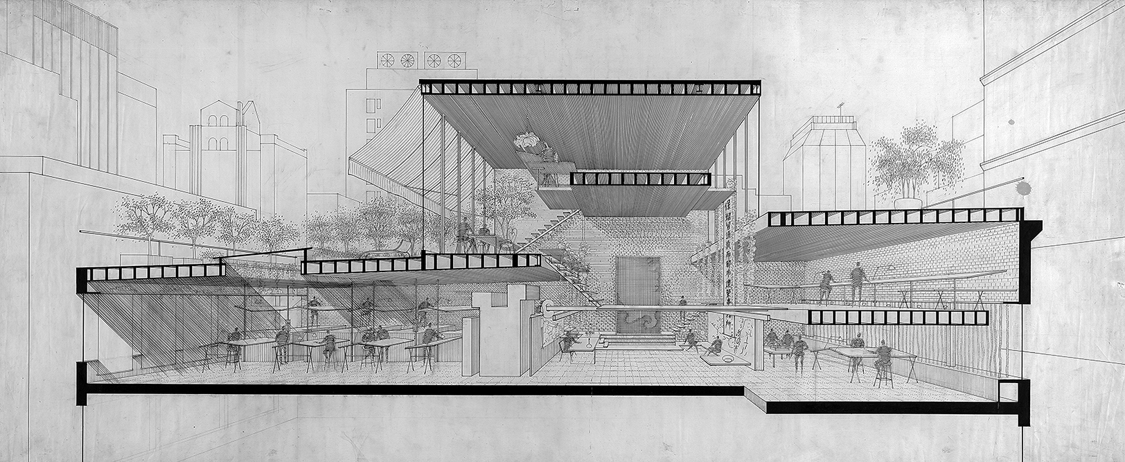 Paul Rudolph Architectural Office, New York City, New York. Section Perspective Rendering.