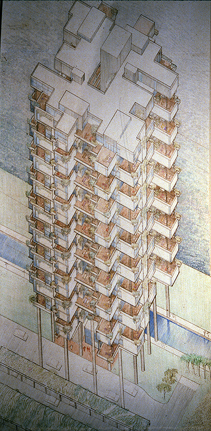 The Colonnade Condominium, Grange Road and Orchard Road, Singapore. Isometric Rendering of Building Exterior.