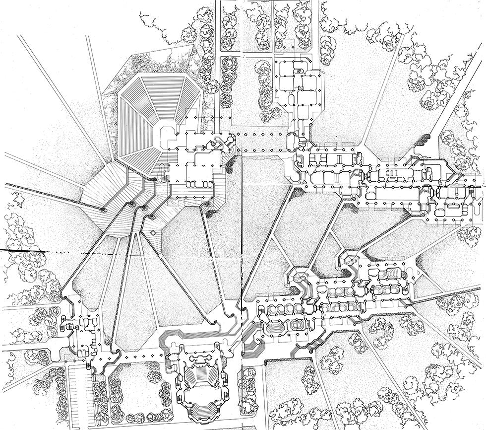 SMTI (Southeastern Massachusetts Technological Institute - now UMass Dartmouth). Rendered Site Plan.