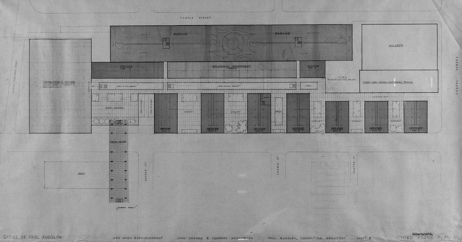 Church Street Redevelopment, New Haven, Connecticut. Third Floor Plan.