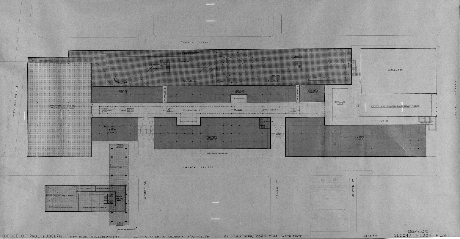 Church Street Redevelopment, New Haven, Connecticut. Second Floor Plan.
