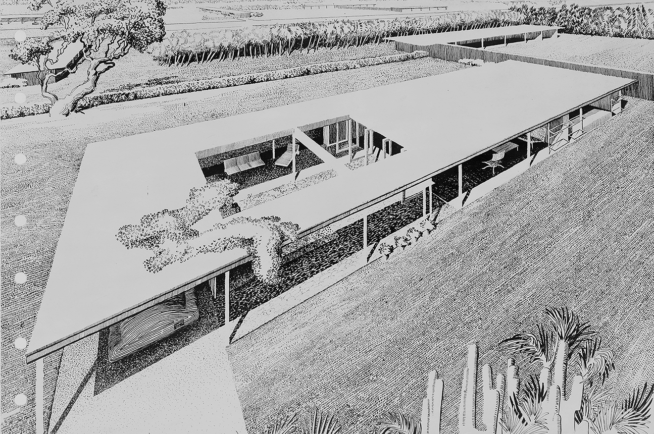Revere Quality House, Siesta Key, Florida. Bird's-eye Perspective Rendering.