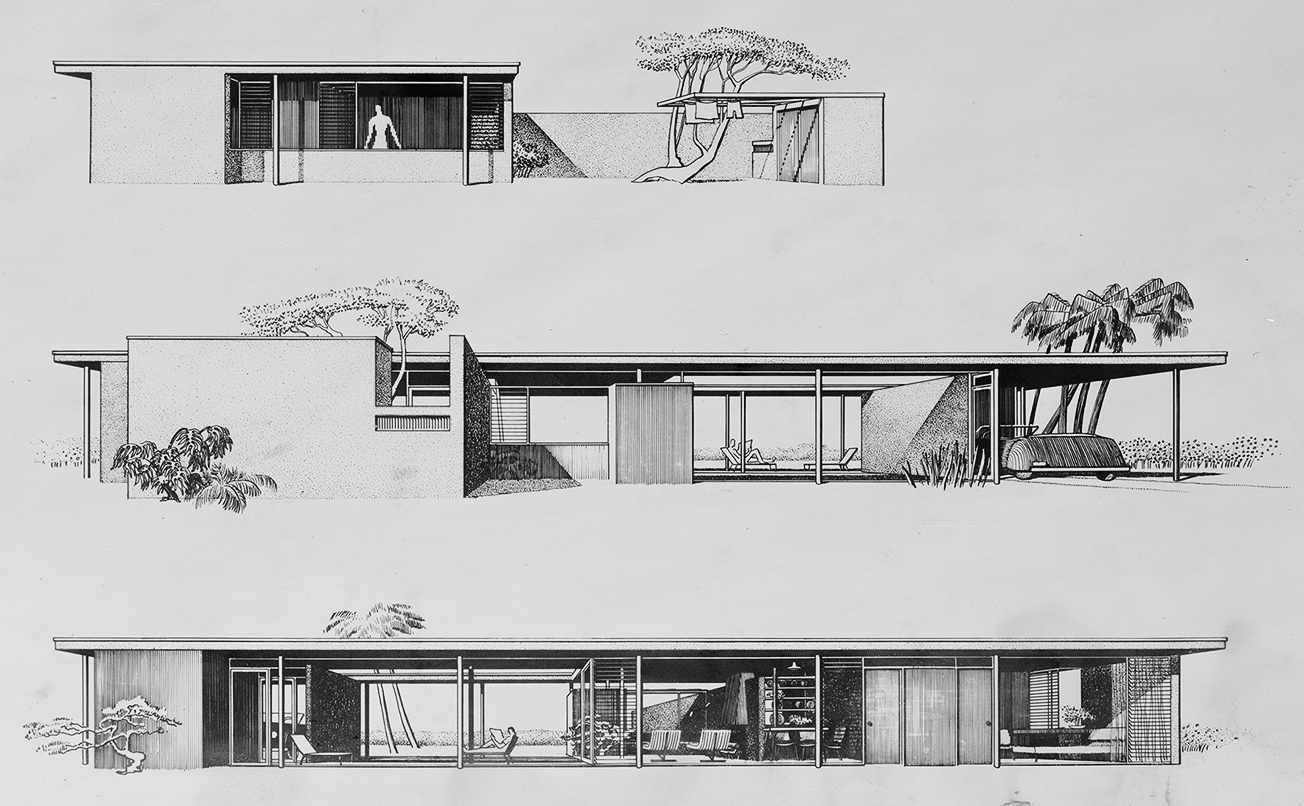 Revere Quality House, Siesta Key, Florida. Perspective Elevation Renderings.