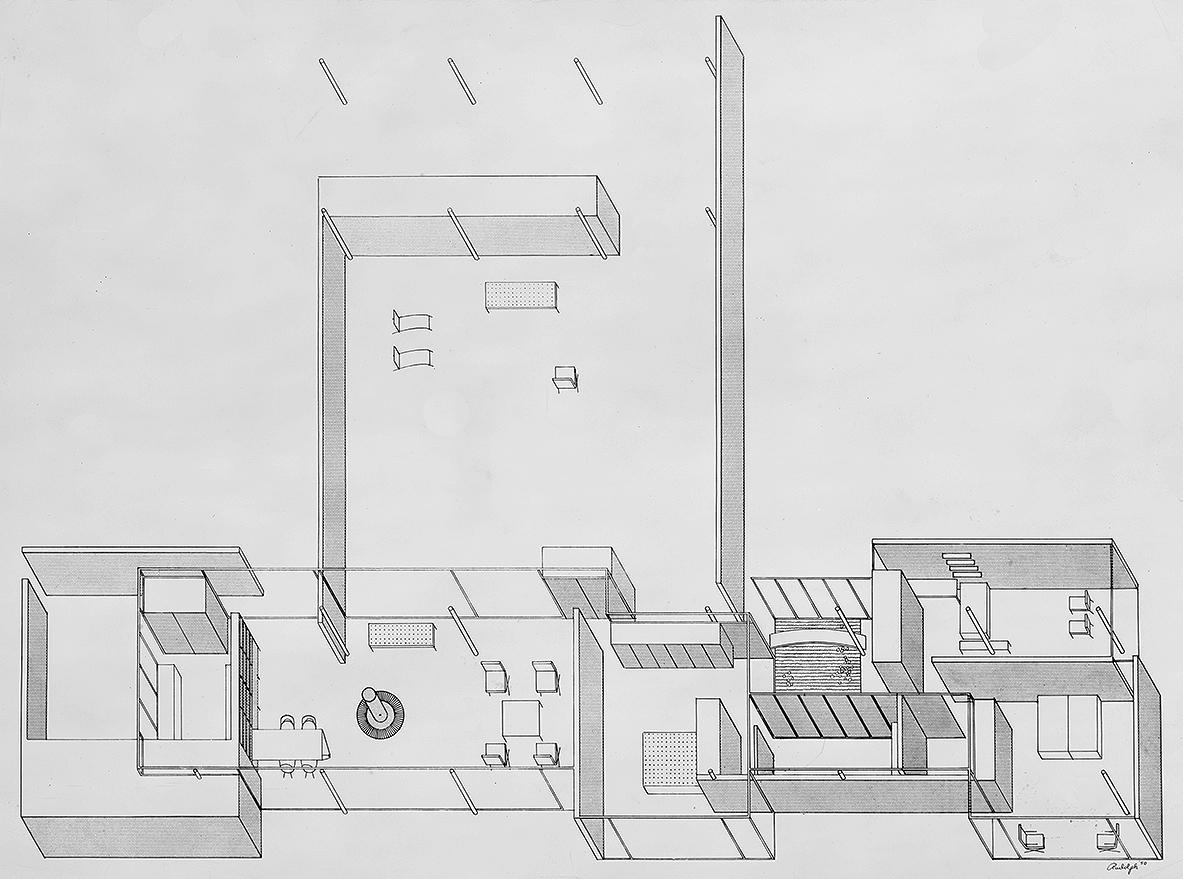 Burnette Residence, Sarasota, Florida. Axonometric Plan.