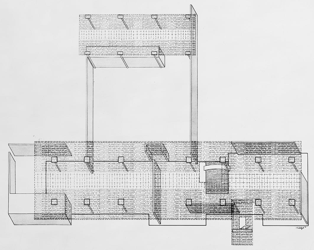 Burnette residence, Sarasota, Florida. Roof Reinforcing Axonometric Plan.