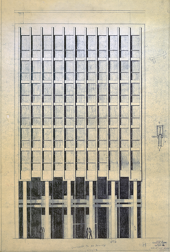 First New Haven National Bank, New Haven, Connecticut. Exterior Elevation Rendering by Douglas Orr used for Project Site Reference.