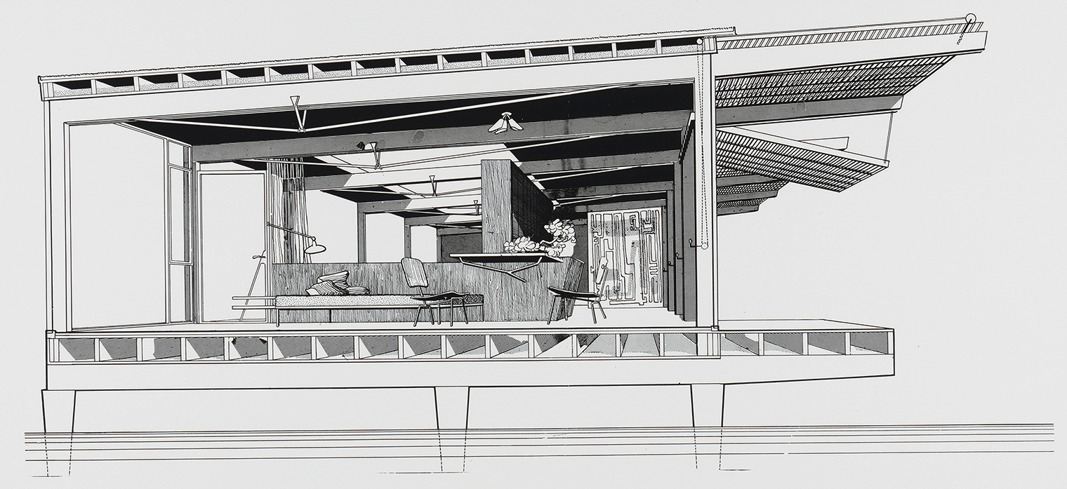 Finney Guest House, Siesta Key, Florida. Perspective Section Rendering.
