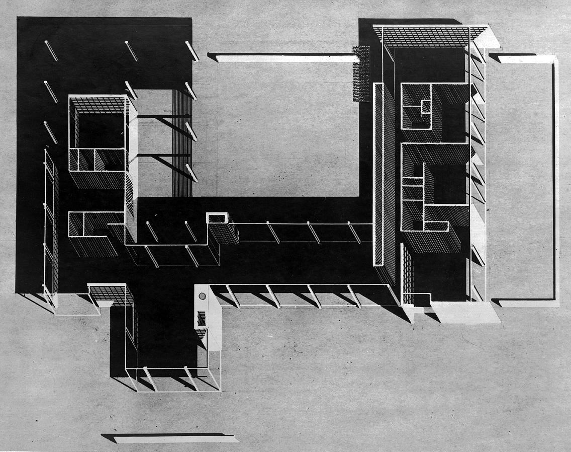 Denman Residence, Siesta Key, Florida. Axonometric Floor Plan.