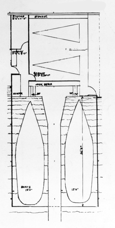 Miller Boathouse, Casey Key, Florida. Ground Floor Plan.
