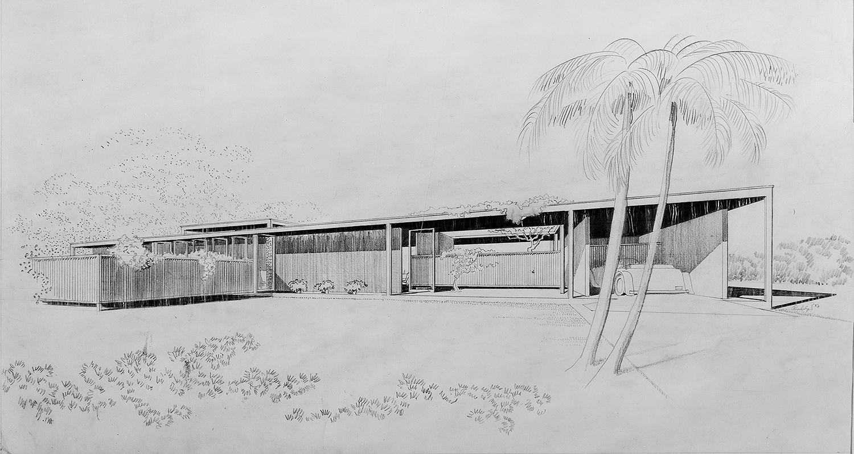 Davis Residence, Sarasota, Florida. Exterior Perspective Rendering.