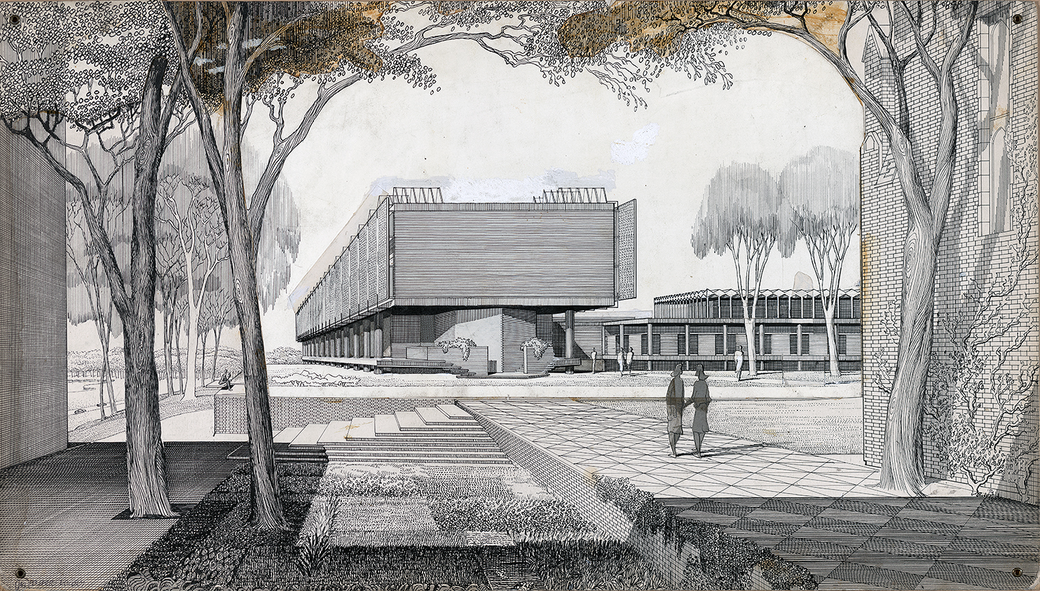 Mary Cooper Jewett Arts Center, Wellesley College, Wellesley, Massachusetts. Exterior Perspective Rendering.